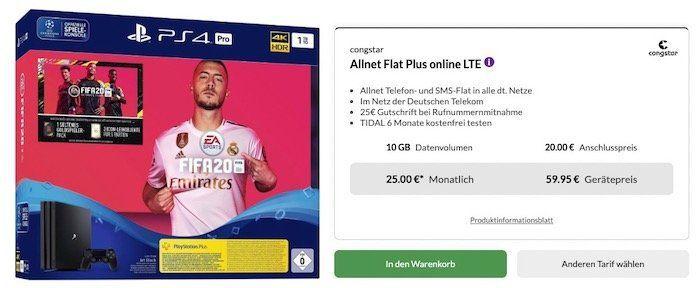 PlayStation 4 Pro + Fifa 20 für 59,95€ + Telekom Flat von Congstar mit 10GB LTE für 25€mtl.