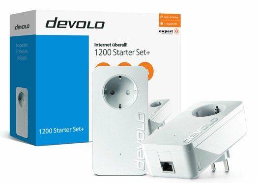 devolo dLAN 1200 Starter Set+ Powerline bis 1.200Mbit/s für 72€ (statt 92€)