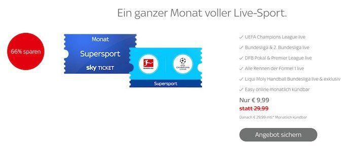 1 Monat Sky Supersport Ticket für 9,99€(statt 30€)   Bayern vs. Dortmund und Liverpool vs. Man City