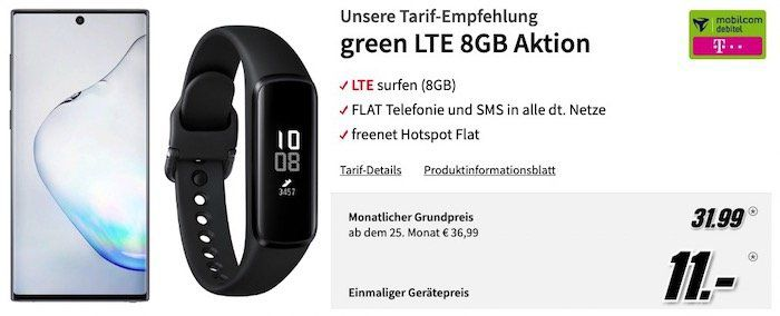 Samsung Galaxy Note 10 + Galaxy Fit e Tracker für 11€ (statt 753€) + Telekom AllNet Flat + 8GB LTE für 31,99€ mtl.