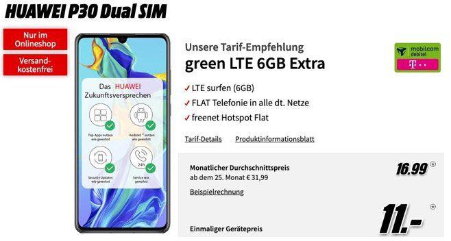 Geht noch: Huawei P30 für 11€ + Telekom Allnet Flat mit 6GB LTE für 16,99€ mtl.