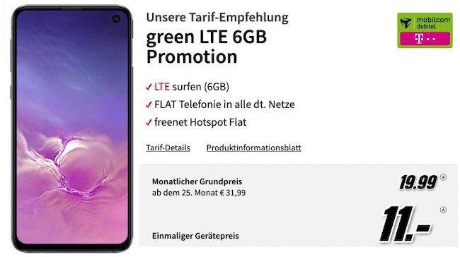 Samsung Galaxy S10e für 11€ + Telekom Flat mit 6GB LTE für 19,99€mtl.