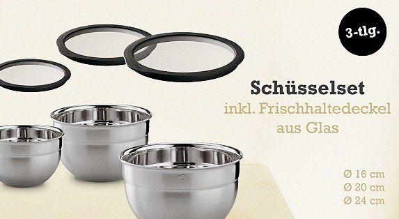 3er Set Rössle Edelstahl Schüsseln mit Glas Deckel für 66,49€ (statt 78€)