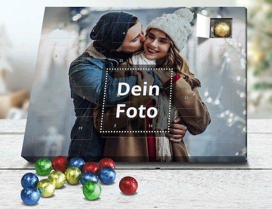 Adventskalender mit eigenem Foto gefüllt mit Edelvollmilch Schokolade für 14,50€