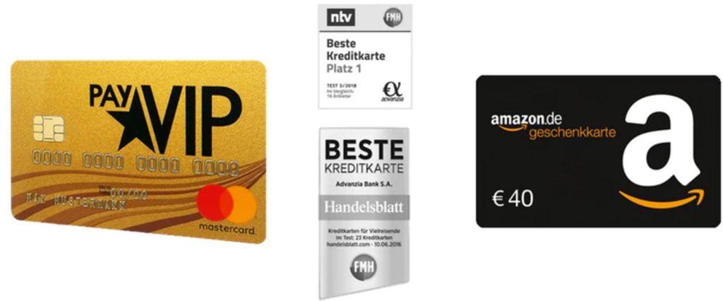 Letzter Tag! 🔥 PayVIP Mastercard Gold (dauerhaft gebührenfrei) + 40€ Amazon Gutschein