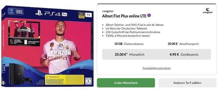PlayStation 4 Pro + Fifa 20 für 4,95€ + Telekom Flat von Congstar mit 10GB LTE für 25€mtl.