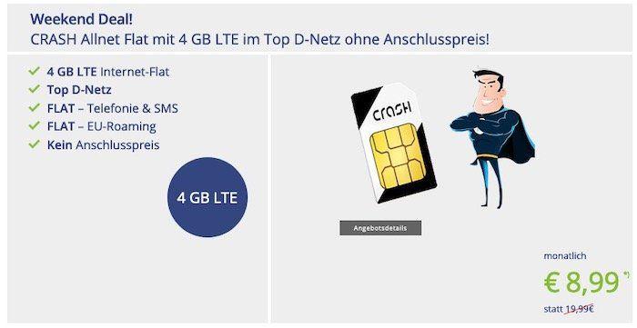 CRASH Weekend Deal: Allnet Flatrate im Vodafone Netz mit 4GB LTE für 8,99€ mtl.
