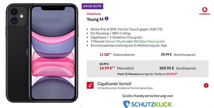 Junge Leute + GigaKombi: iPhone 11 128GB für 369,95€ + Vodafone Flat mit 11GB LTE für 18,99€ mtl.