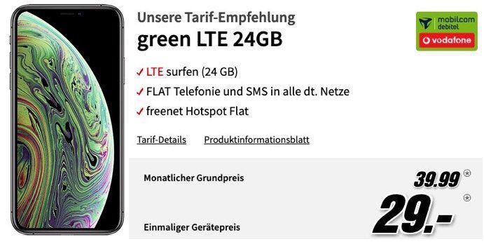 Apple iPhone XS 64GB für 29€ + Vodafone Flat mit fetten 24GB LTE für 39,99€ mtl.