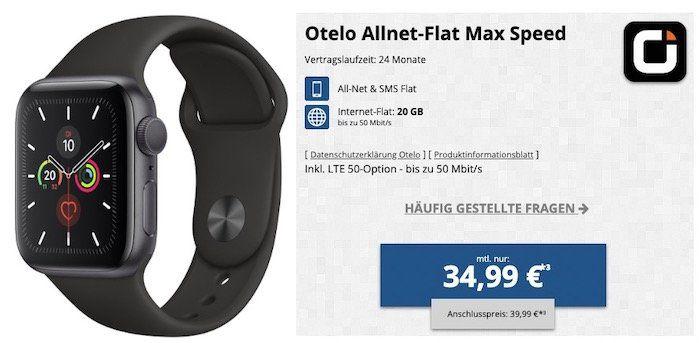 Apple Watch Series 5 GPS 44mm für 4,95€ + Vodafone Flat von otelo mit 20GB LTE für 34,99€ mtl.