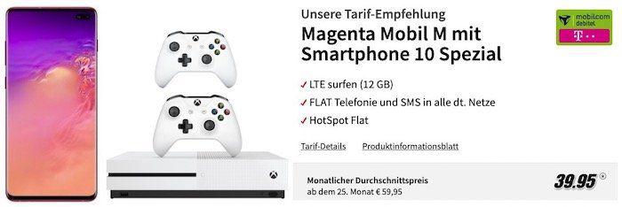 🔥 Knaller! Samsung Galaxy S10+ inkl. Xbox One S 1TB mit 2 Controllern für 49€ + Telekom Flat mit 12GB LTE für rechn. 39,95€