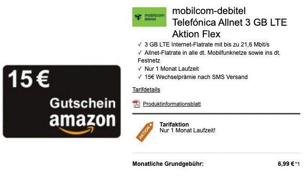o2 Allnet Flat mit 3GB LTE für 6,99€ mtl. oder 5GB für 9,99€ + 15€ Amazon Gutschein   monatlich kündbar!