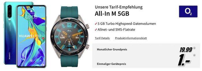Huawei P30 + Watch GT Active inkl. 2. Armband für 1€ + o2 Allnet Flat mit 5GB LTE für 19,99€mtl.   effektiver Gewinn!