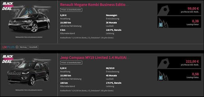 Leasingmarkt Black Leasing Week   z.B. Renault Megane Kombi nur 99€ mtl. inkl. Wartung & Verschleiß