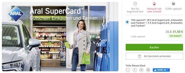 Über Groupon bei ARAL bis zu 10% z.B. beim Tanken sparen   mit ARAL Supercard