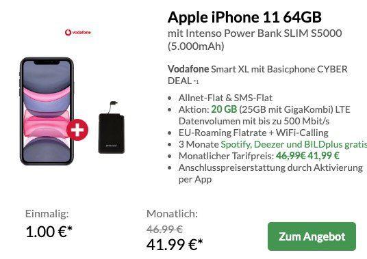 Vorbei! Preisboerse24 Black Deals   z.B. iPhone 11 + Powerbank nur 1€ + Vodafone Flat 20GB LTE für 41,99€ mtl.