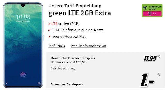 Ausverkauft! ZTE AXON 10 Pro für 1€ + Telekom Flat mit 2GB LTE für rechn. 11,99€ mtl.