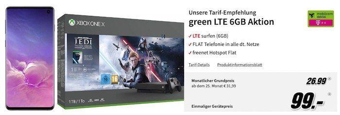 🔥 Samsung Galaxy S10 + Xbox One X 1TB Star Wars Jedi: Fallen Order Bundle nur 99€ + Telekom Flat mit 6GB LTE für 26,99€ mtl.