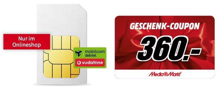 Vorbei! Vodafone Flat mit 24GB LTE für rechn. 24,99€ mtl. + 360€ Media Markt Coupon