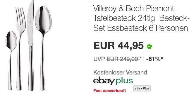eBay Cyber Weekend mit Artikeln bis zu 50%   z.B. Villeroy&Boch Piemont 24teilig für 44,95€ (statt 72€)