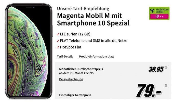 Apple iPhone XS 64GB für 79€ + Telekom Flat mit 12GB LTE für rechn. 39,95€mtl.