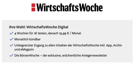 4 Wochen WirtschaftsWoche Digital für nur 1€ (statt 20€)