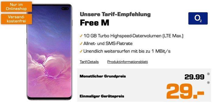 Samsung Galaxy S10+ 128GB mit Galaxy Buds für 29€ + o2 Allnet Flat mit 10GB LTE für 29,99€ mtl.