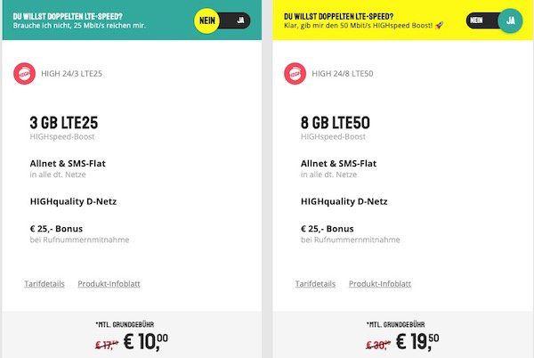Telekom Flat von Sparhandy mit 8GB LTE ab 17€ mtl.