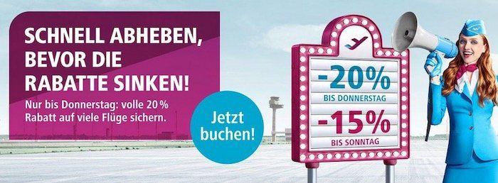 Sparen bei Eurowings mit 20% Rabatt auf viele Flüge   z.B. Köln nach Sylt für 59,99€