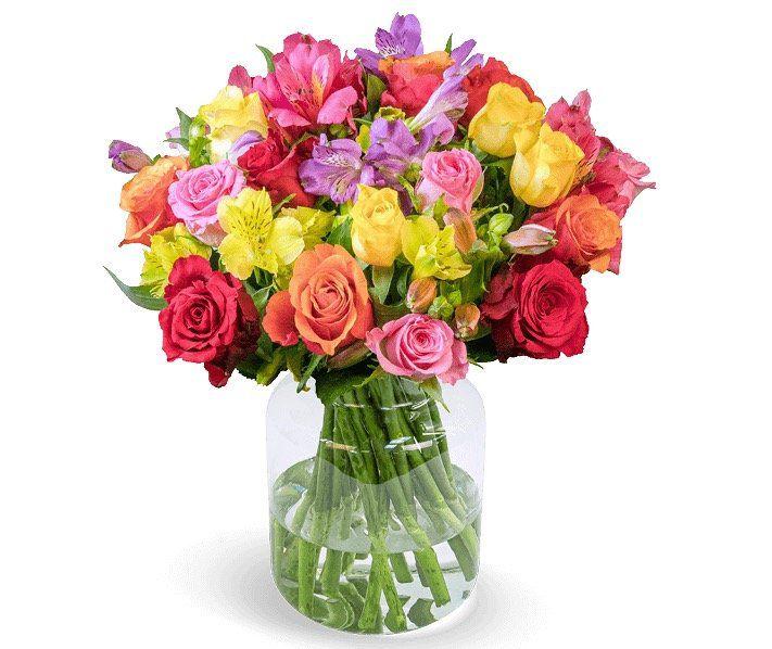 Blumenarrangement Farbspiel mit 30 Rosen & Inkalilien für 22,98€