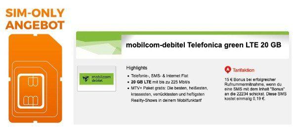 o2 Allnet Flat mit 20GB LTE 225 MBit für 14,99€ mtl. inkl. MTV+ gratis (statt mtl. 2,99€)