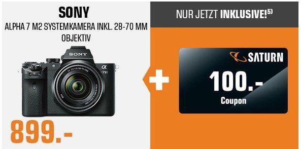 Sony Alpha 7 II   24MP Digi Cam Kit mit Objektiv 28 70 mm für 899€ (statt 978€) + 100€ Geschenk Coupon