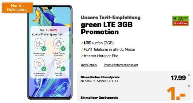 Huawei P30 für 1€ + Allnet Flat im Vodafone Netz mit 3GB LTE für 17,99€ mtl.