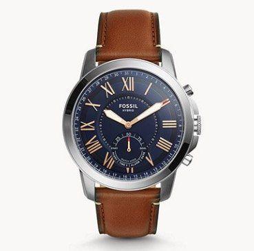 Fossil Grant Herren Hybrid Smartwatch mit Leder Armband für 85€ (statt 153€)
