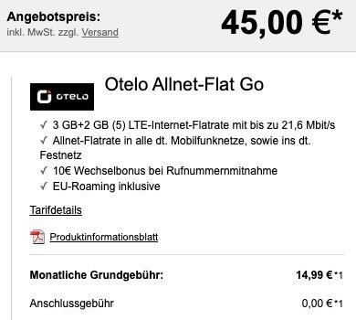 Apple Watch SE 40mm GPS für 45€ + Vodafone AllnetFlat von otelo + 5GB LTE für 14,99€ mtl.