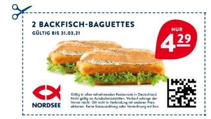 Nordsee Gutscheine bis zu 50% Rabatt z.B. 2 Backfisch Baguettes 4,29€ und 2. Filet für 1€ Aufpreis