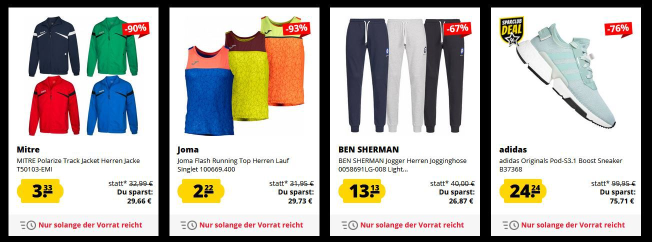 SportSpar Black Freitag Sale bis  95%   z.B. Under Armour Laufschuhe nur 17,17€