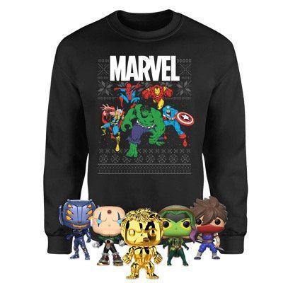 Marvel Christmas Sweatshirt inkl. 5 Funko Pops für 28,48€ (statt 67€)