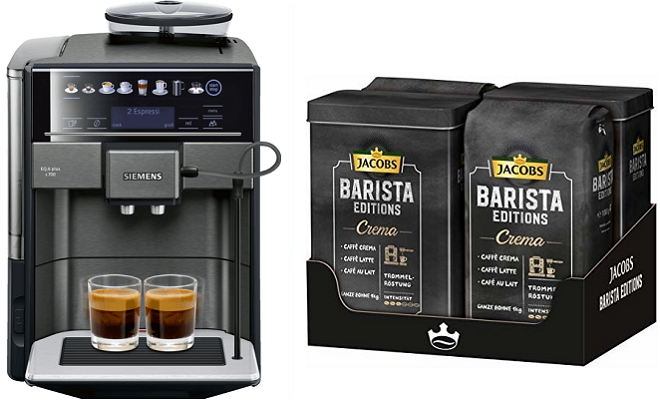 Siemens EQ.6 s700 Kaffeevollautomat mit 19 bar + 4 kg Jacobs Barista Editions Crema Kaffeebohnen für 850,99€ (statt 1.010€)