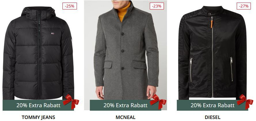 Top! Peek & Cloppenburg* 20% extra Rabatt auf Marken Jacken, Mäntel & mehr (Top Wellenstyn)