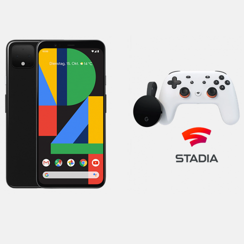 Google Pixel 4 64GB & Google Stadia Premiere Edition für 59,95€ + Telekom Mobil M Young 12GB für eff. 44,95€ mtl.