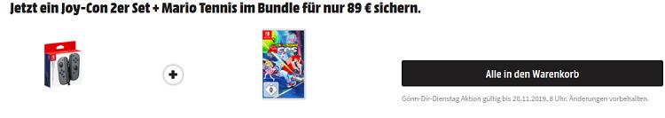 Joy Con 2er Set + Mario Tennis Aces (Nintendo Switch) für 89€ (statt 106€)