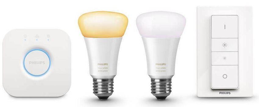 Philips Hue White Ambiance Starter Set + Bridge + Dimmschalter + 2 x E27 ZigBee Leuchtmittel für 89,99€ (statt 120€)