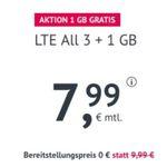 Allnet-Flat im O2-Netz mit 4GB LTE 50 Mbit/Sek. für 7,99€ – monatlich kündbar, keine AG