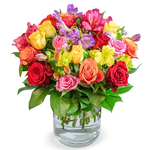 """Blumenarrangement """"Farbspiel"""" mit 30 Rosen & 10 Inkalilien für 24,98€"""