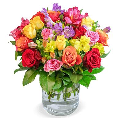 Blumenarrangement Farbspiel mit 30 Rosen & 10 Inkalilien für 24,98€