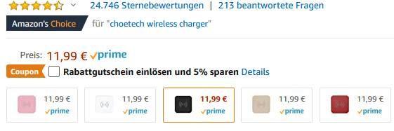 10W CHOETECH Qi Ladegerät für 7,79€ (statt 12€)
