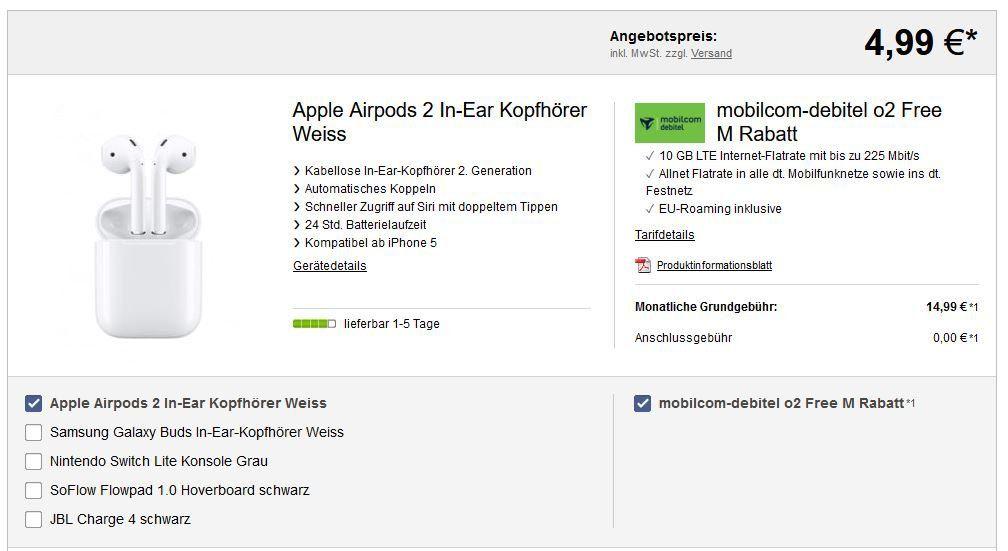 O2 AllNet & SMS Flat + 10GB max. LTE für 14,99€ + coole Prämien z.B.  Apple Airpods 2 für 4,99€ (statt 135€)