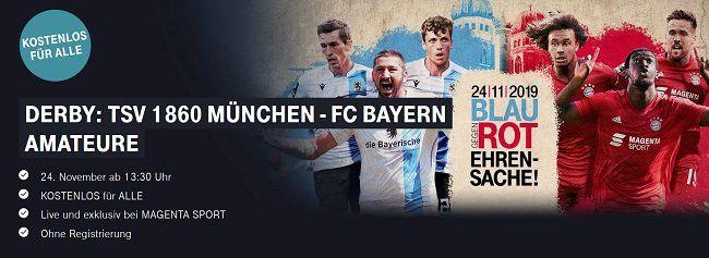 MagentaSport: 1860 München vs. FC Bayern München II gratis anschauen