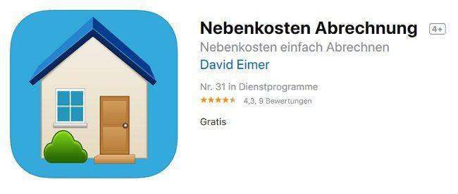 iOS: Nebenkosten Abrechnung kostenlos (statt 8€)